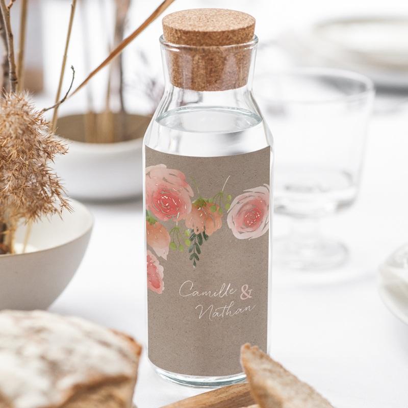 Etiquette bouteille mariage Fleurs d'aquarelle Kraft, 8 x 13 cm gratuit