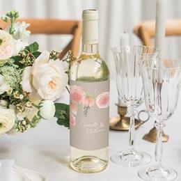 Etiquette bouteille mariage Fleurs d'aquarelle Kraft, 8 x 13 cm