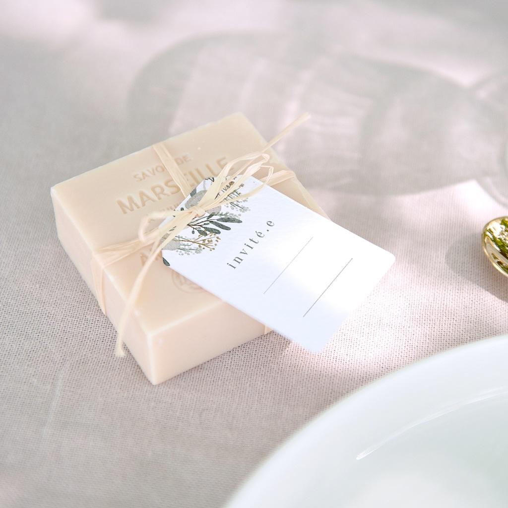 Marque-place mariage Monnaie du Pape & Gypsophile, invité