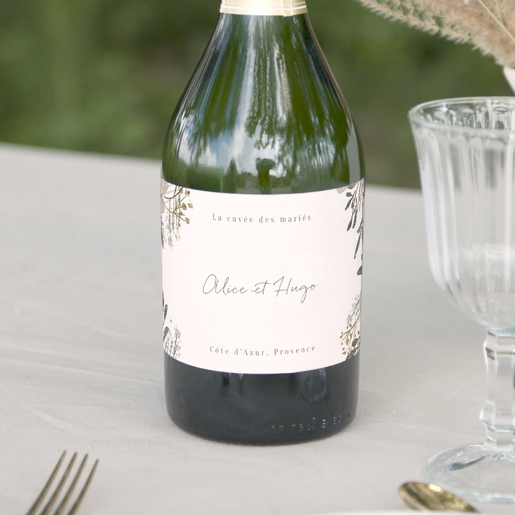 Etiquette bouteille mariage Monnaie du Pape & Gypsophile, Champagne
