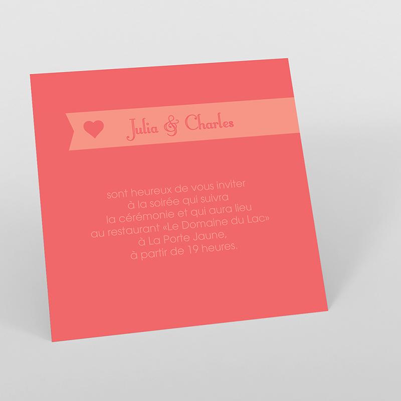 Carte d'invitation mariage Mille fois oui pêche