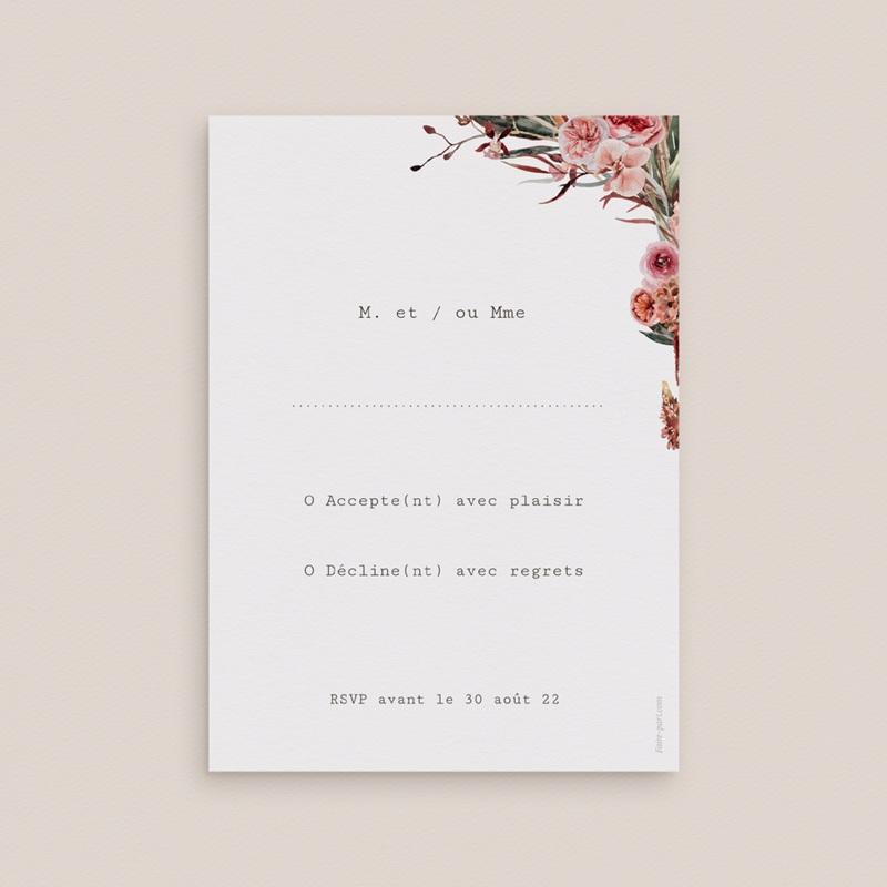 Carton réponse mariage Rsvp, Arche de fleurs pourpres pas cher