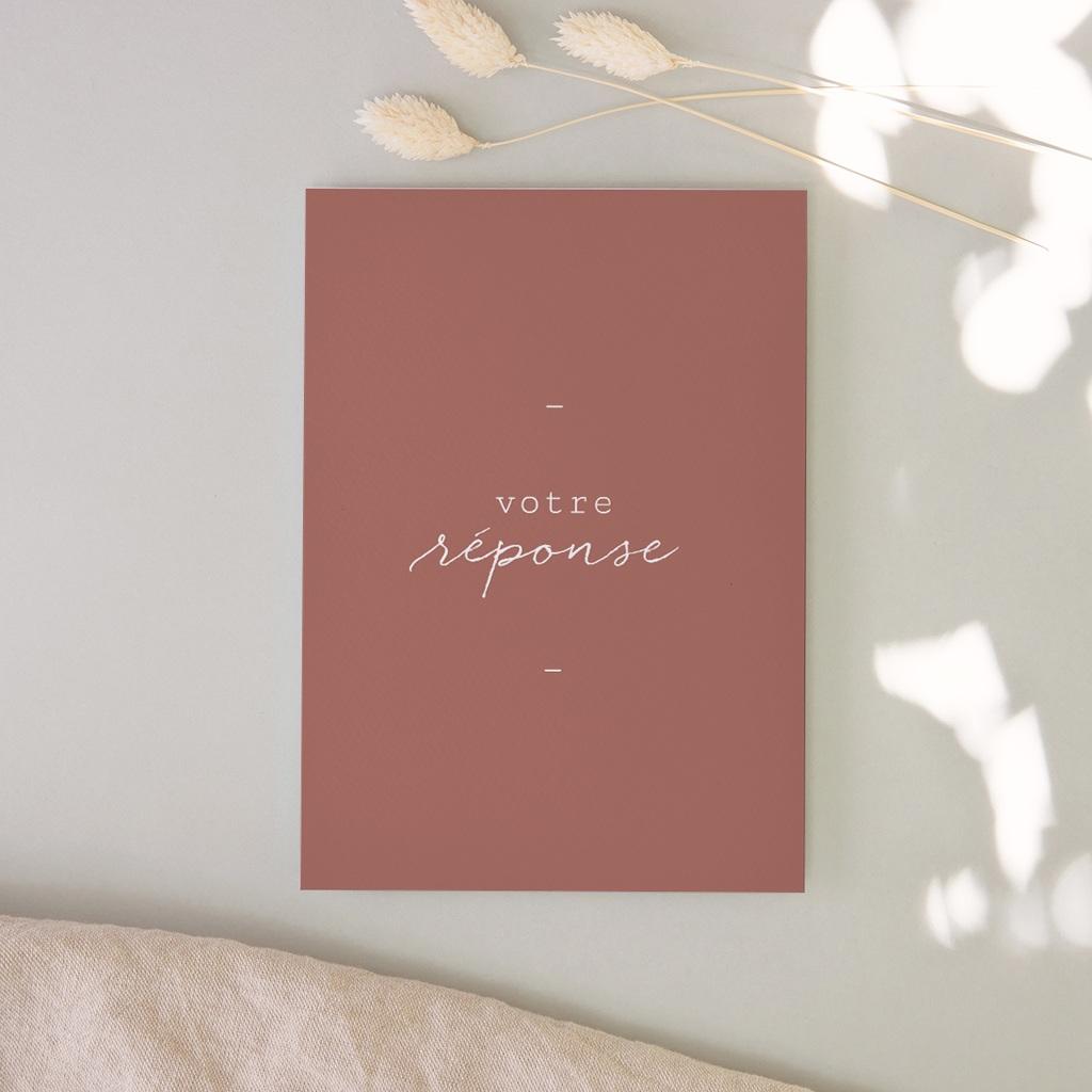 Carton réponse mariage Rsvp, Arche de fleurs pourpres