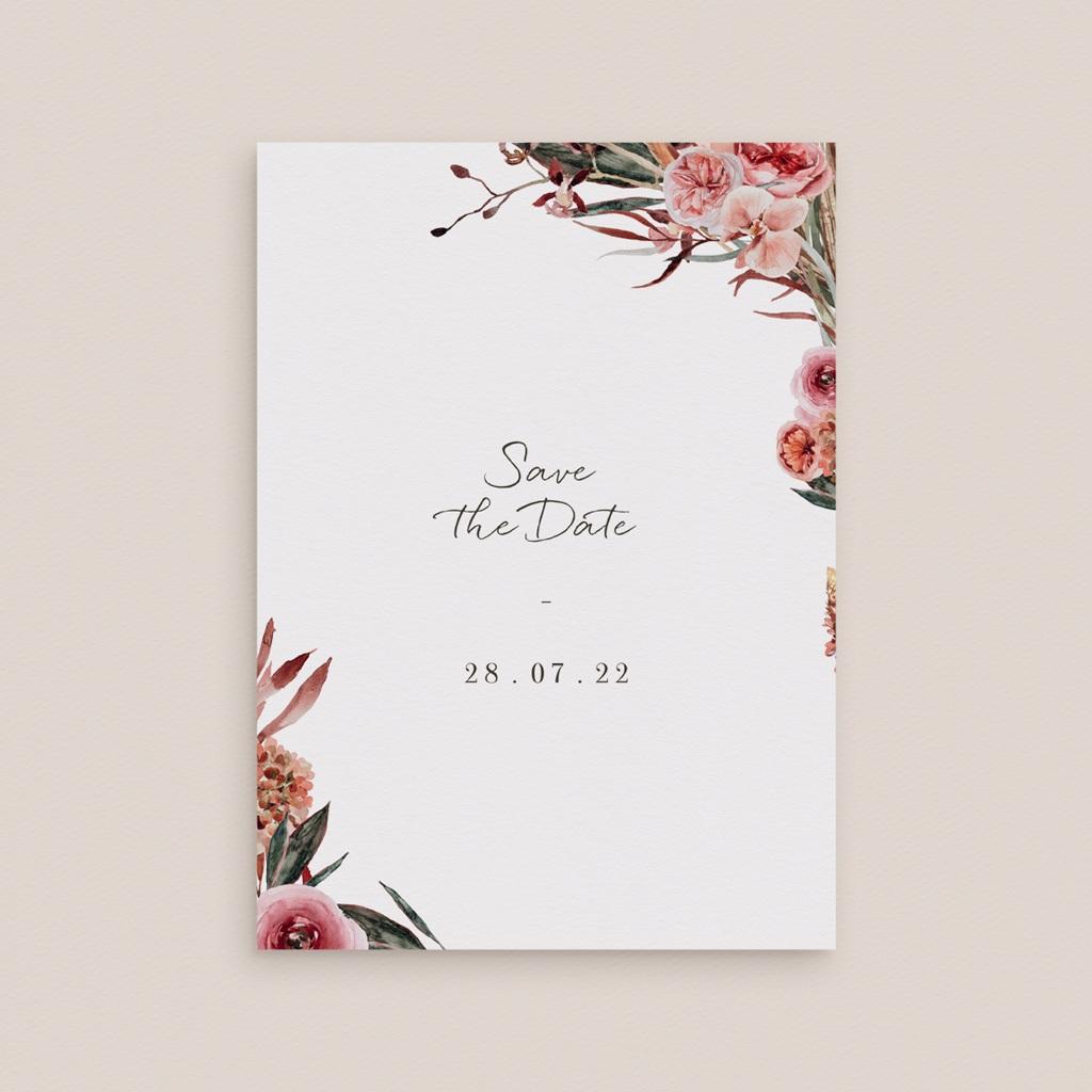 Save-the-date mariage Jour J, Arche de fleurs pourpres gratuit