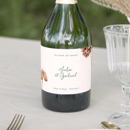 Etiquette bouteille mariage Champagne, Arche de fleurs pourpres