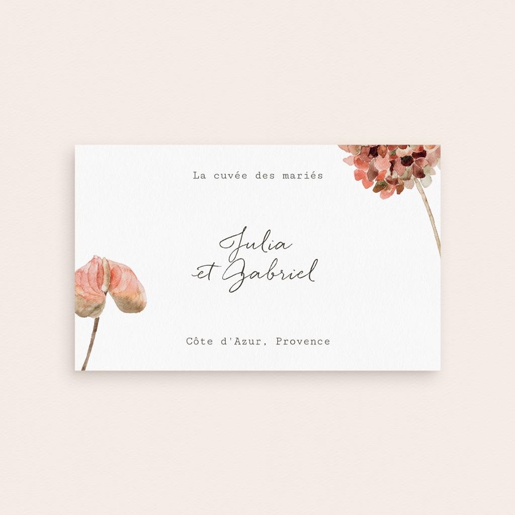 Etiquette bouteille mariage Champagne, Arche de fleurs pourpres pas cher