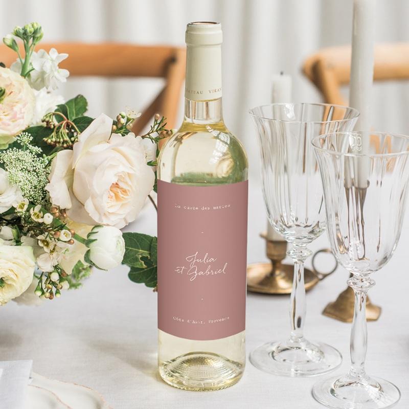 Etiquette bouteille mariage Vin, Arche de fleurs pourpres