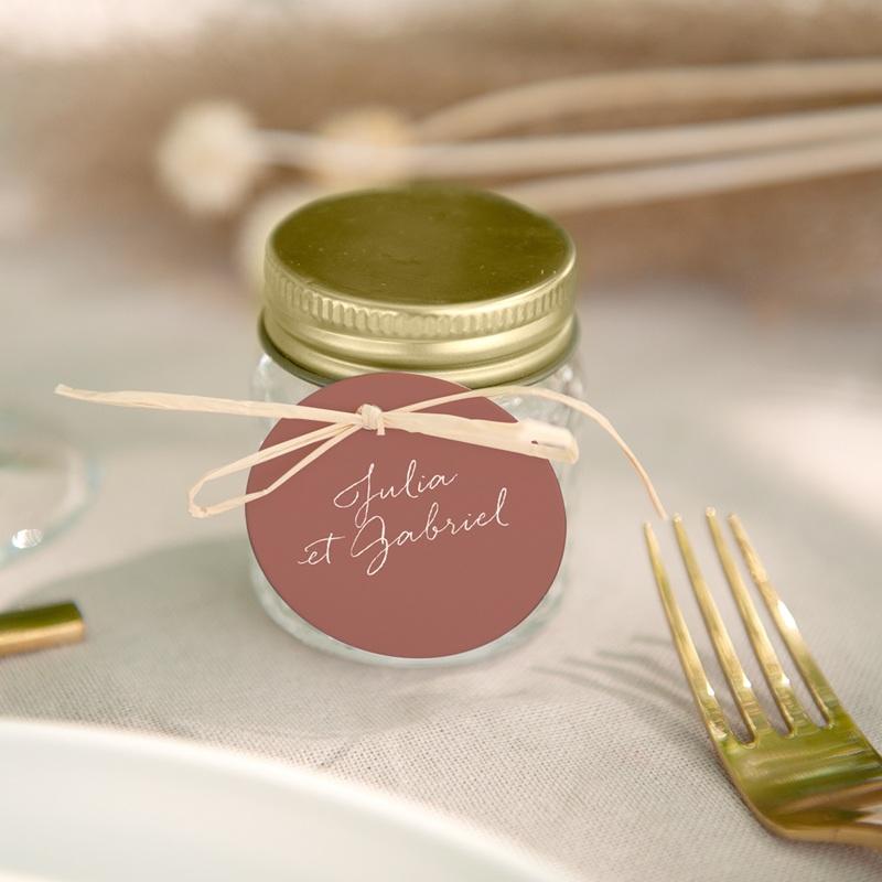 Etiquettes cadeaux mariage Souvenir, Arche de fleurs pourpres