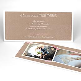 Carte de remerciement mariage Bois de Rose