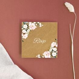 Carton réponse mariage Kraft et Rose, Rsvp, 10 x 10