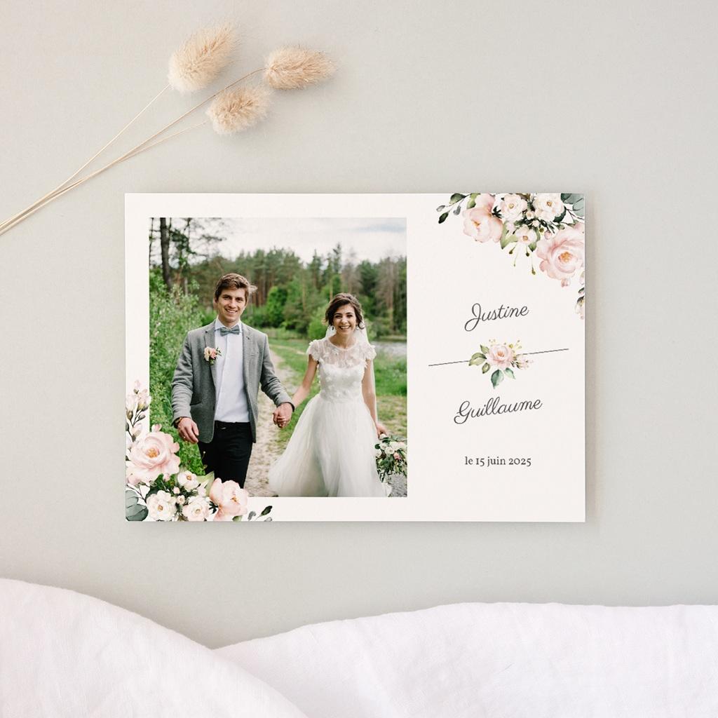Carte de remerciement mariage Kraft et Rose, Photo, 16,7 x 12 cm