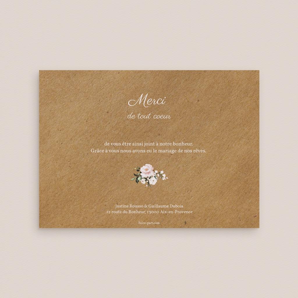 Carte de remerciement mariage Kraft et Rose, Photo, 16,7 x 12 cm pas cher