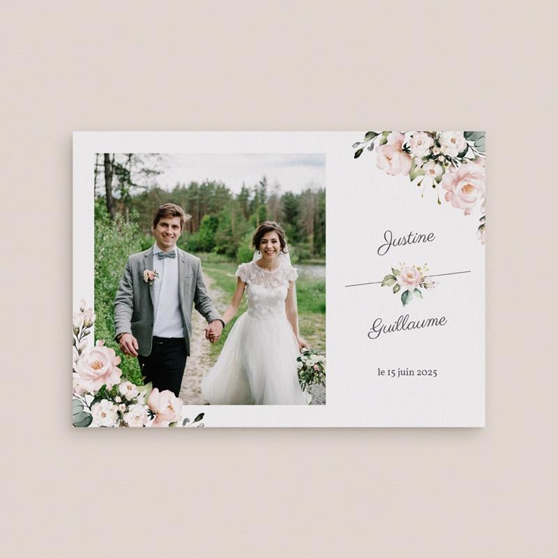 Carte de remerciement mariage Kraft et Rose, Photo, 16,7 x 12 cm gratuit