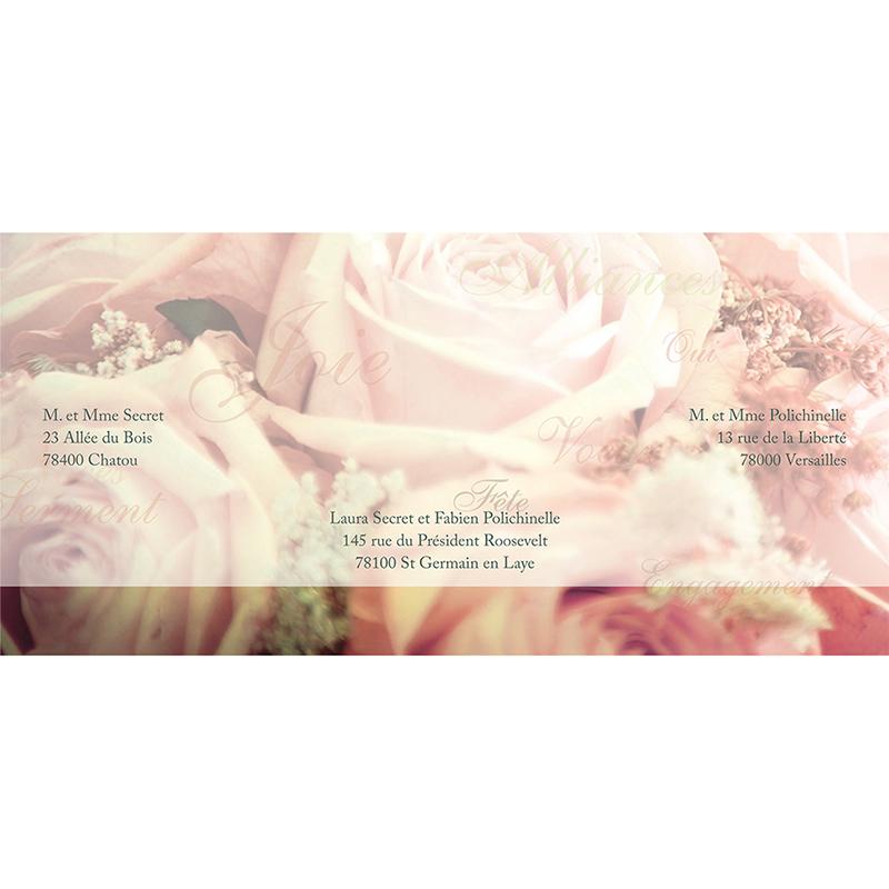 Faire-part de mariage Florilège rose  gratuit