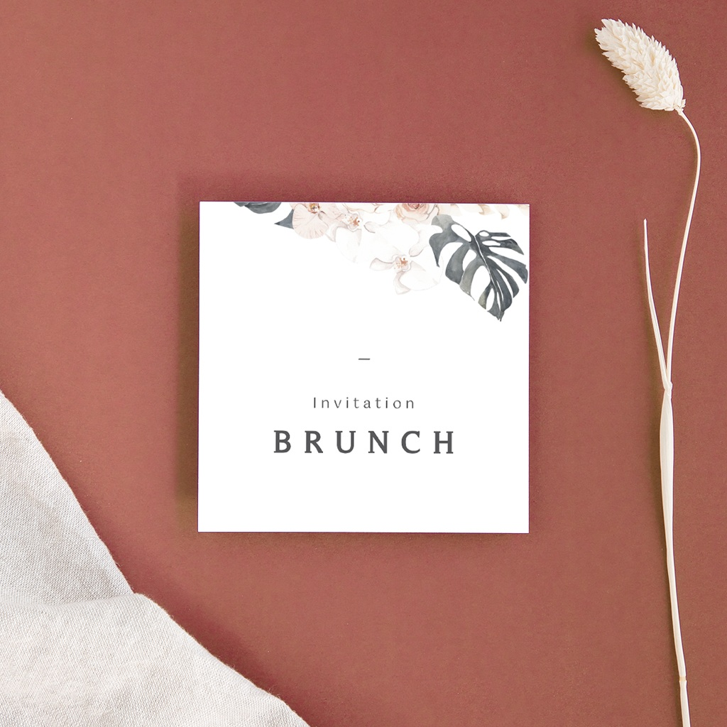 Carte invitation Brunch Bohème Fleuri, brunch