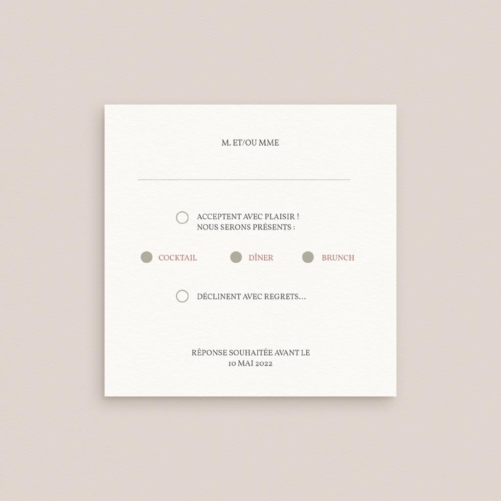 Carton réponse mariage Bois de Santal, 10 x 10 pas cher