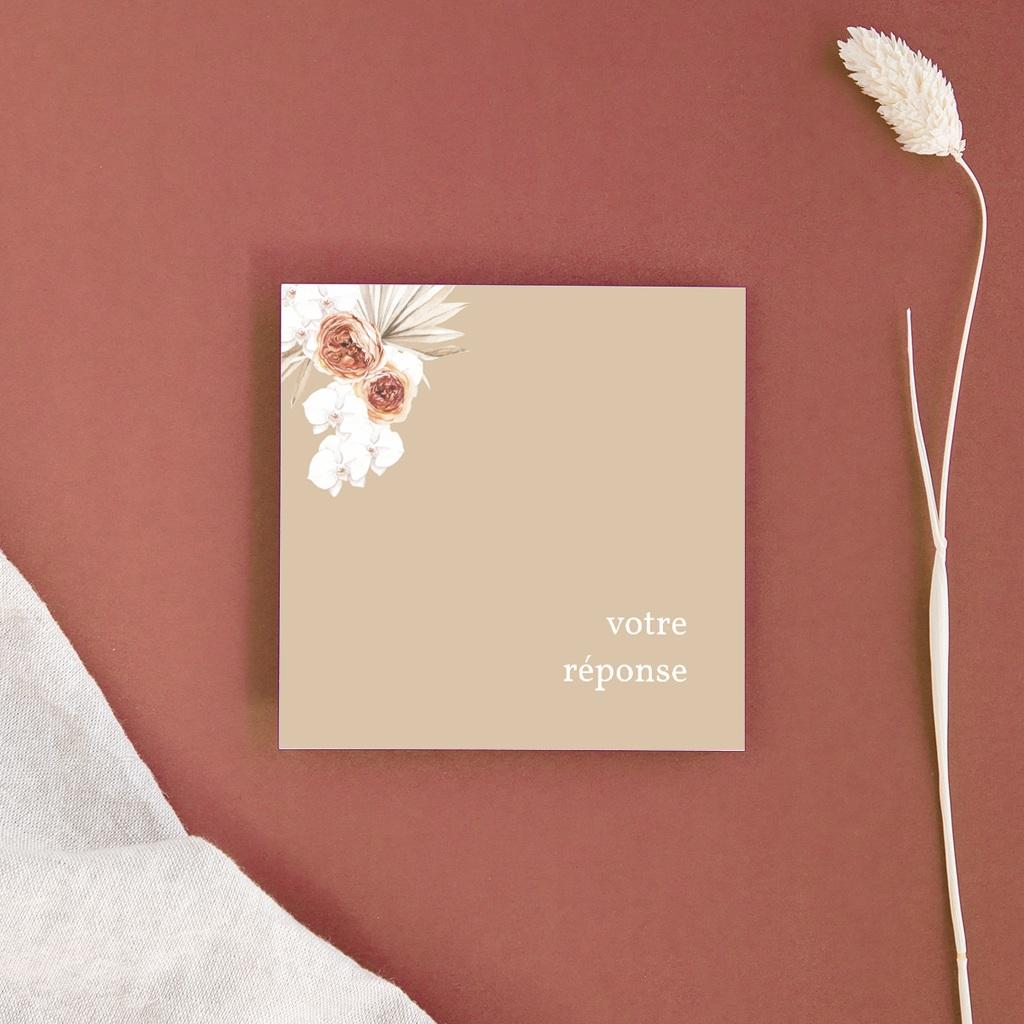 Carton réponse mariage Bois de Santal, 10 x 10