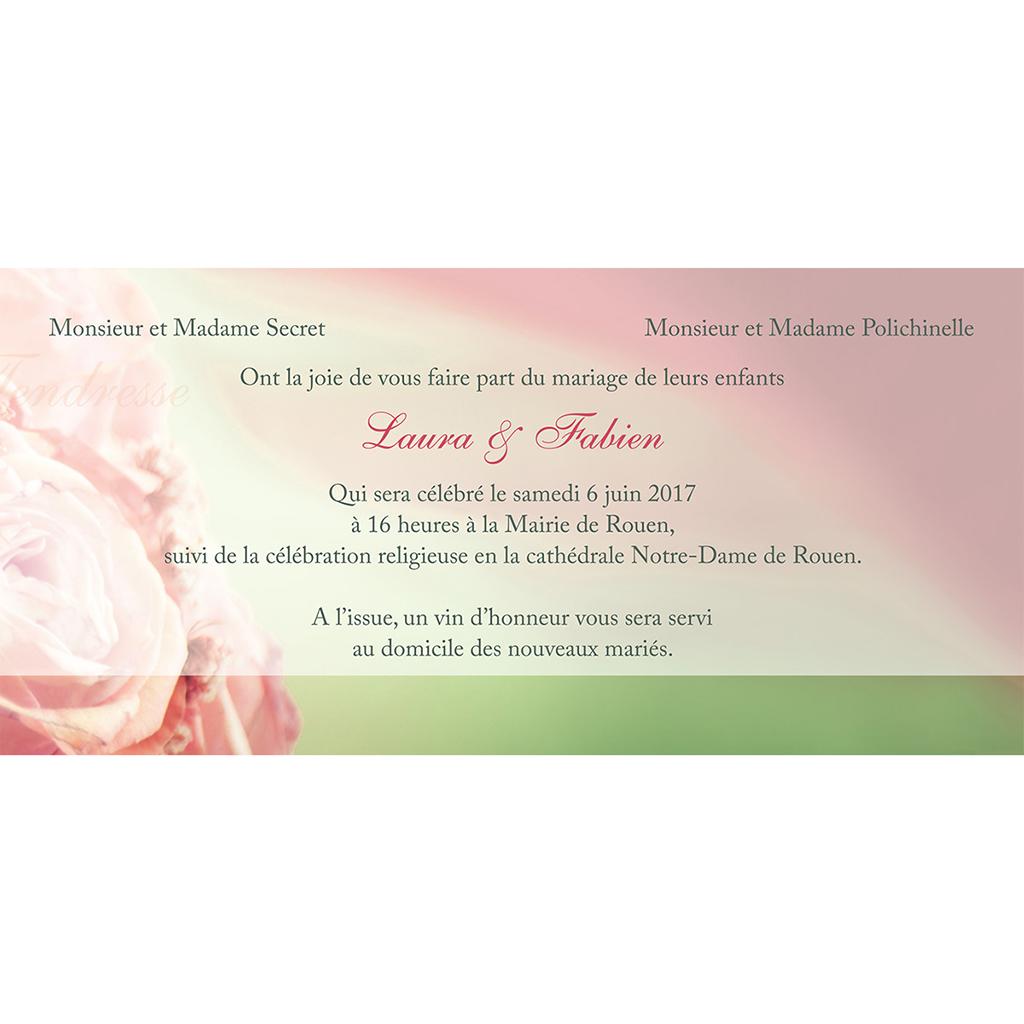 Faire-part de mariage Florilège rose