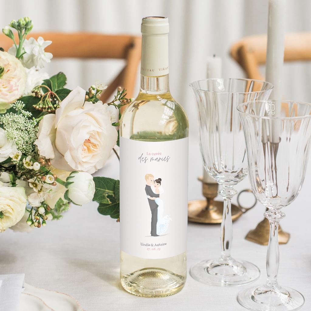 Etiquette bouteille mariage Youpi, du vin!