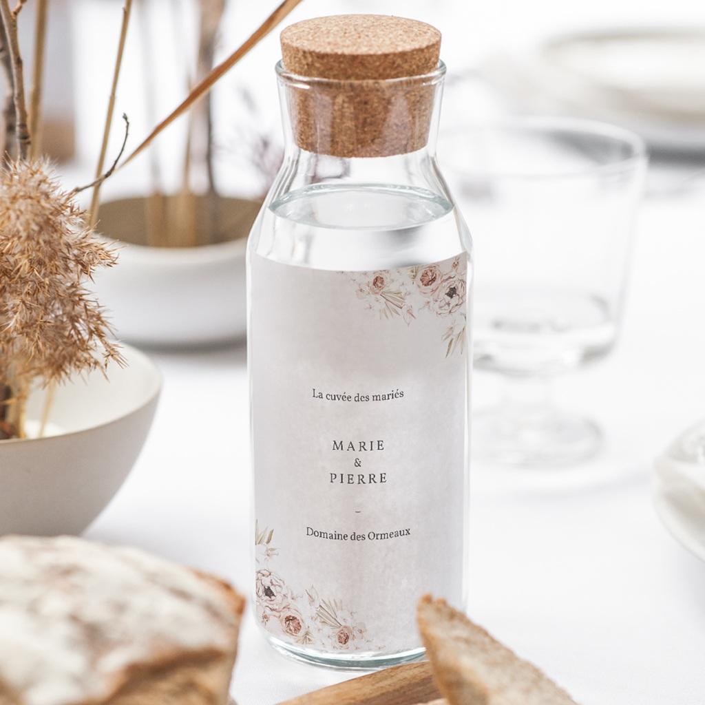 Etiquette bouteille mariage Bois de Santal, Vin & Eau gratuit