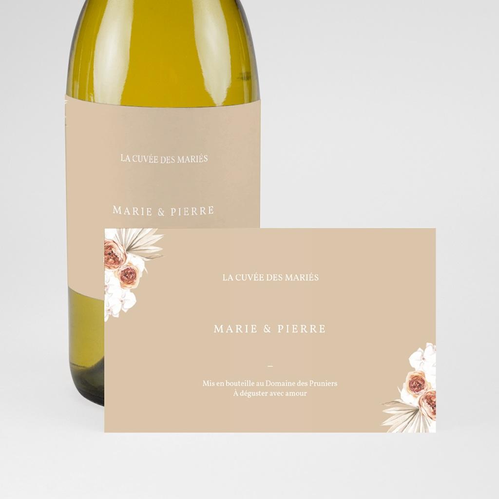 Etiquette bouteille mariage Bois de Santal, Champagne & Vin pas cher