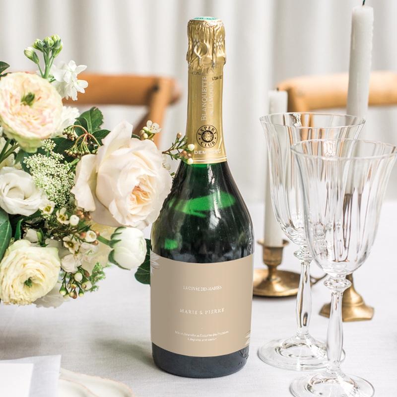 Etiquette bouteille mariage Bois de Santal, Champagne & Vin gratuit