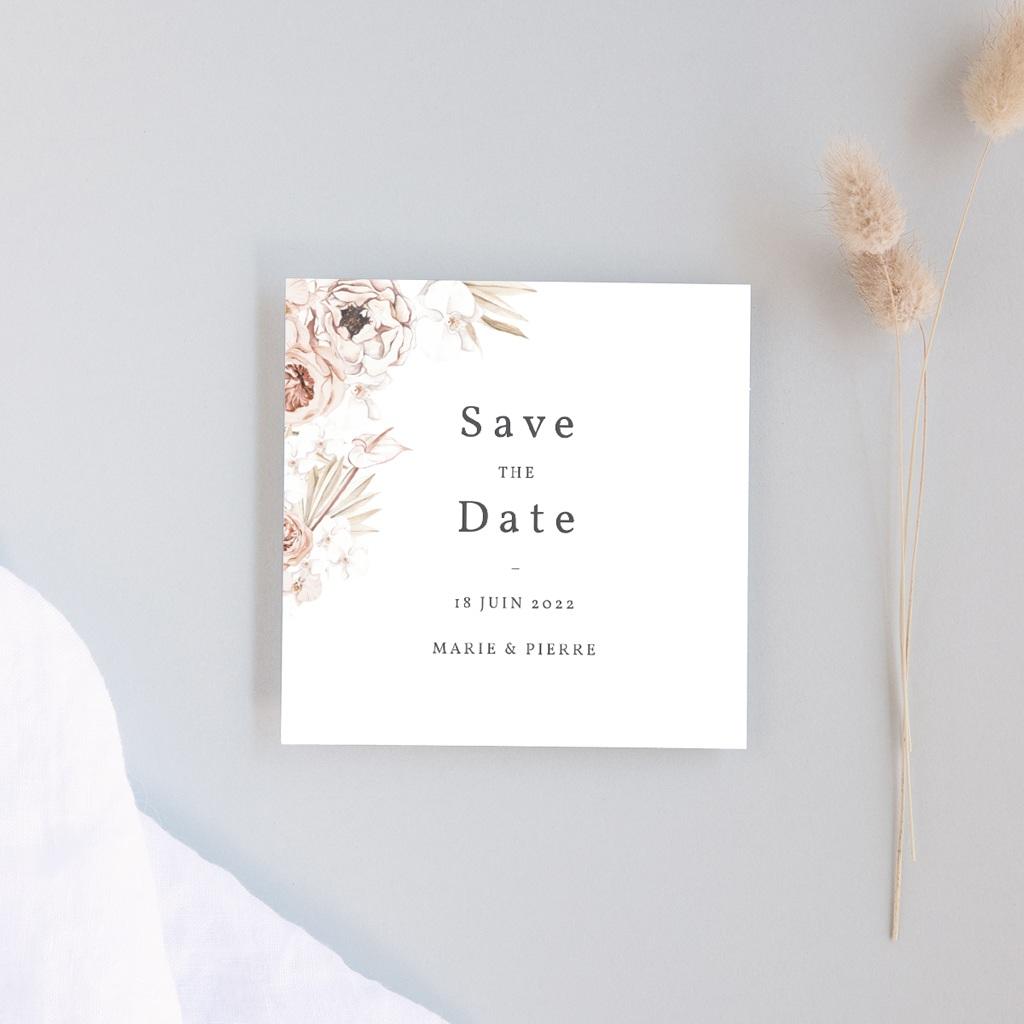 Save-the-date mariage Bois de Santal, 10 x 10 cm