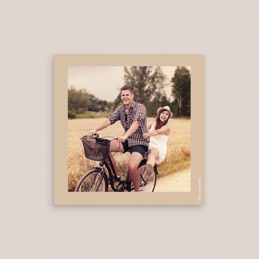 Save-the-date mariage Bois de Santal, 10 x 10 cm pas cher