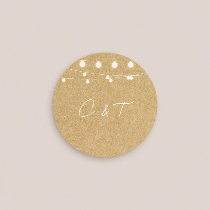 Etiquette enveloppes mariage Perfect Day Kraft, 4,5 cm pas cher
