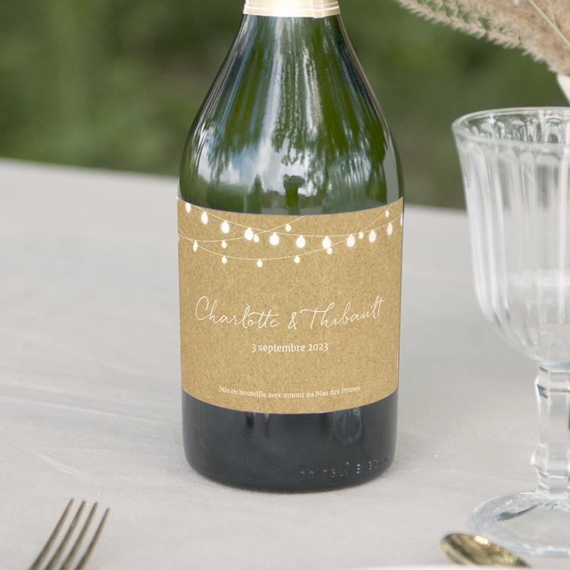 Etiquette bouteille mariage Perfect Day Kraft, Lot de 8, 13x8 cm