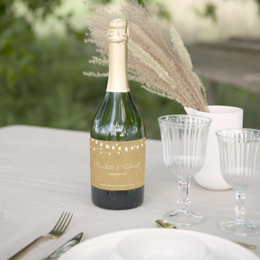 Etiquette bouteille mariage Perfect Day Kraft, Lot de 8, 13x8 cm gratuit