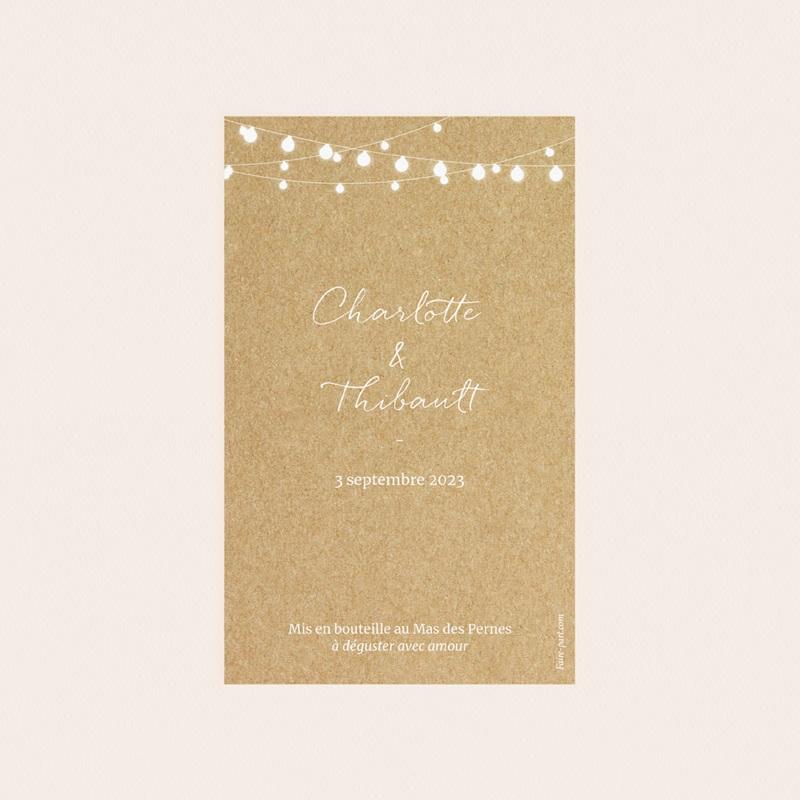 Etiquette bouteille mariage Perfect Day Kraft, Vin, 8x13 cm pas cher