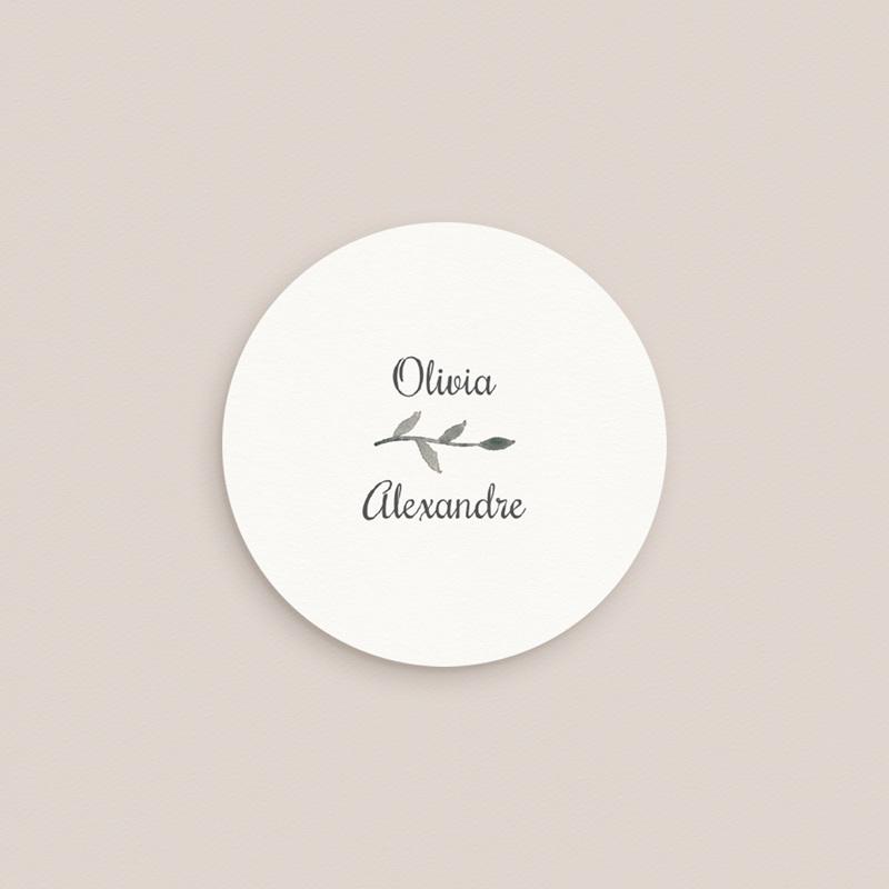Etiquette enveloppes mariage Couronne Olivier Naturel, 4,5 cm pas cher