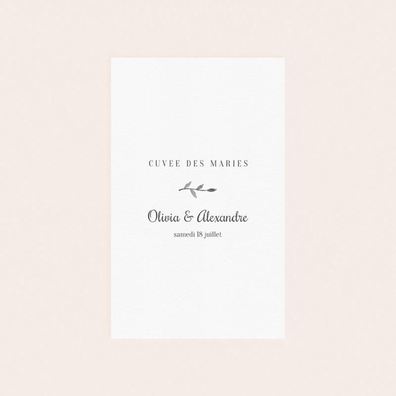 Etiquette bouteille mariage Couronne Olivier Naturel, 8 x 13 cm pas cher