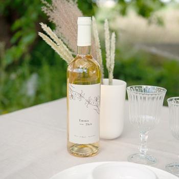 Etiquette bouteille mariage Silhouette de Lys, Taupe clair