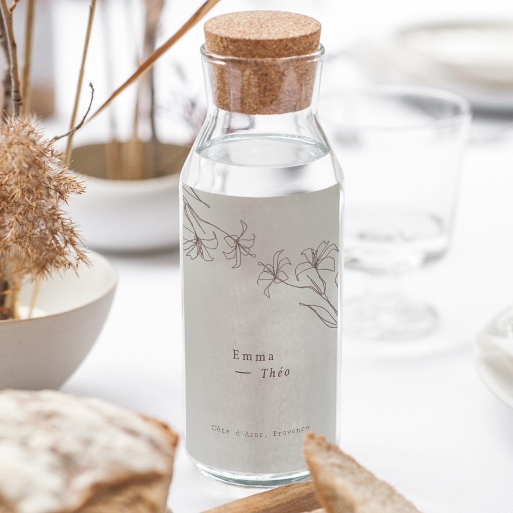 Etiquette bouteille mariage Silhouette de Lys, Taupe clair gratuit