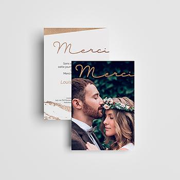 Carte de remerciement mariage Golden Rose