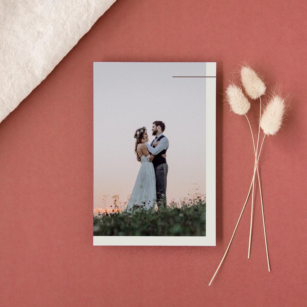 Carte de remerciement mariage Silhouette de Lys, Portrait gratuit