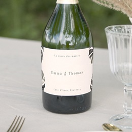 Etiquette bouteille mariage Bananier Monstera, Vin ou Champagne