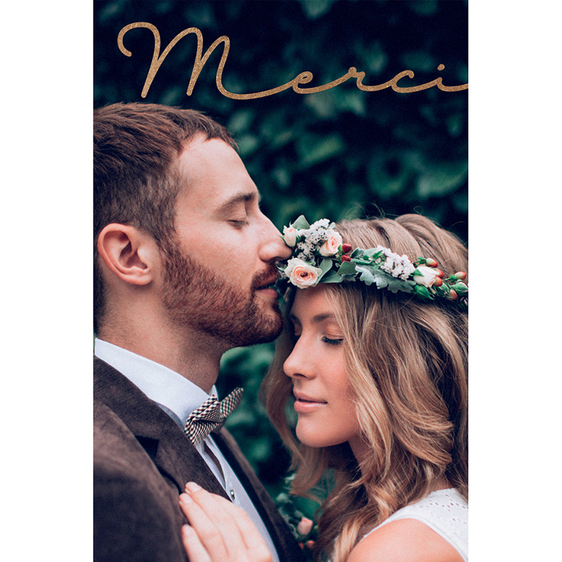 Carte de remerciement mariage Golden Rose pas cher