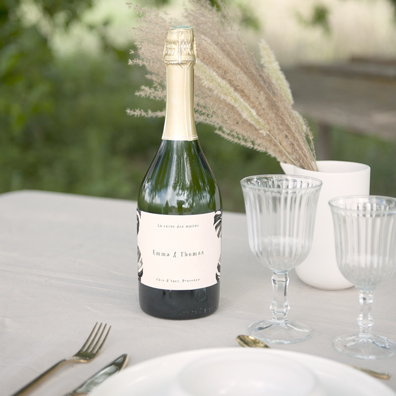 Etiquette bouteille mariage Bananier Monstera, Vin ou Champagne gratuit