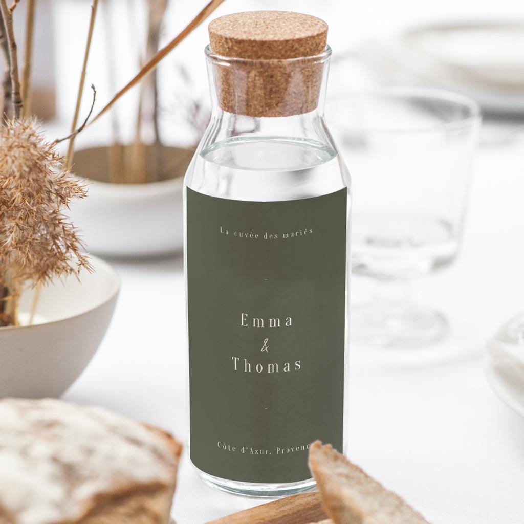 Etiquette bouteille mariage Bananier Monstera, Vert, 8 x 13 cm gratuit