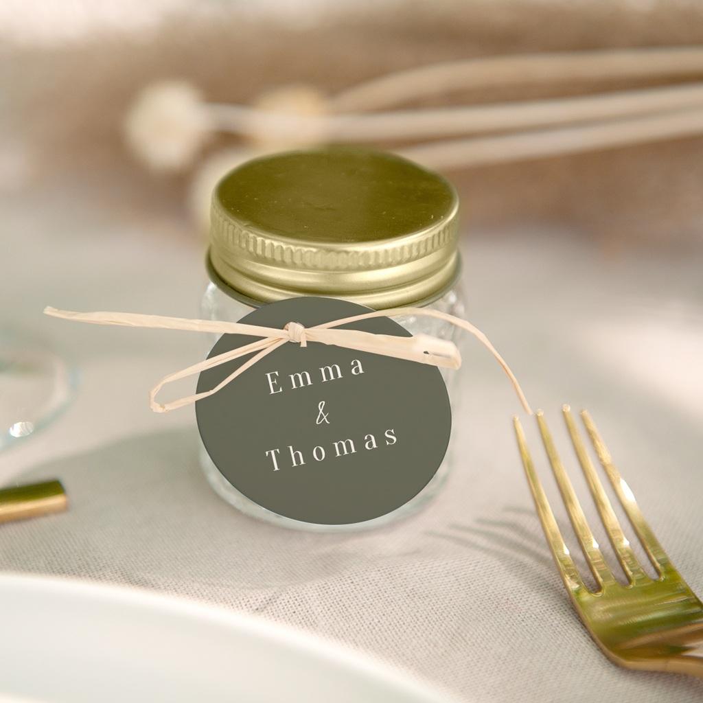 Etiquettes cadeaux mariage Bananier Monstera, Vert