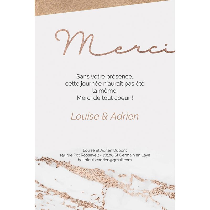 Carte de remerciement mariage Golden Rose gratuit