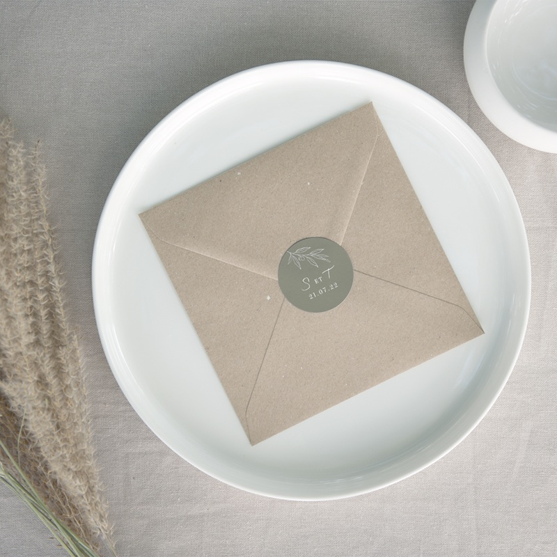 Etiquette enveloppes mariage Brin Olivier, naturel