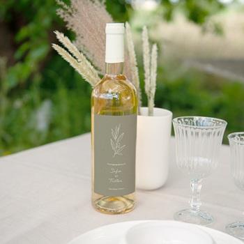 Etiquette bouteille mariage Brin Olivier, naturel
