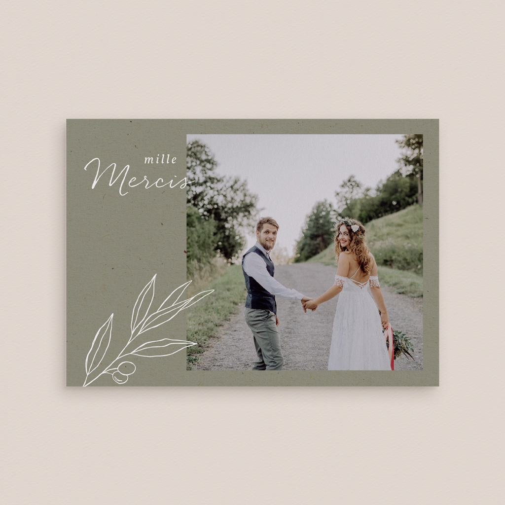 Carte de remerciement mariage Brin Olivier, naturel gratuit