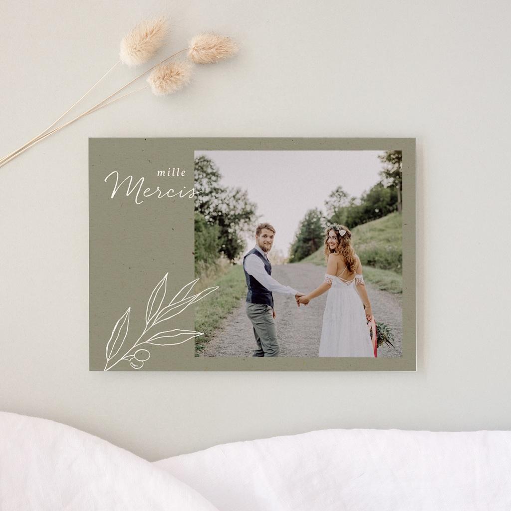 Carte de remerciement mariage Brin Olivier, naturel