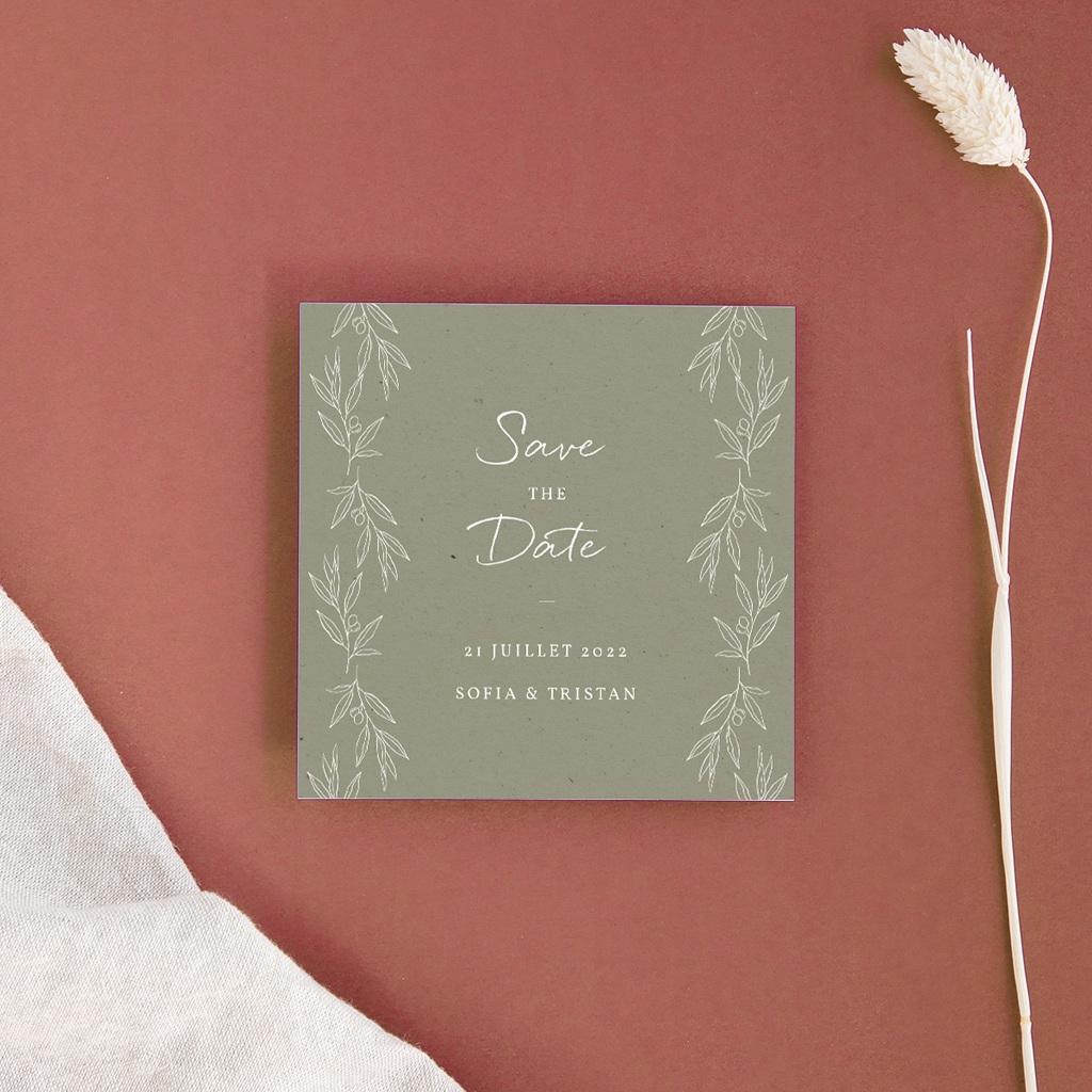 Carte anniversaire de mariage nature Brin Olivier, naturel