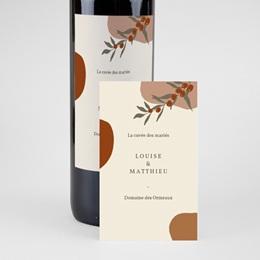 Etiquette bouteille mariage Rameau bohème, 8 x 13 cm pas cher